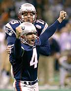 Kicker Adam Vinatieri jumps for joy after bringing home the Super Bowl for the Patriots.